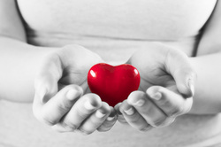 red heart held in two hands